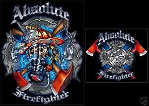 New Maltese Cross & Skull Firefighter T Shirt, Size MD