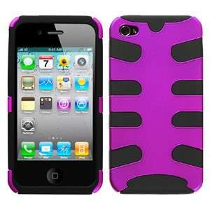 PURPLE/BLACK Hybrid Fishbone Phone Snap On Cover Case for APPLE IPHONE