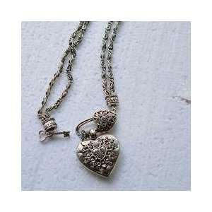 Asian Hmong Designed Crystal Heart Locket Necklace Jewelry