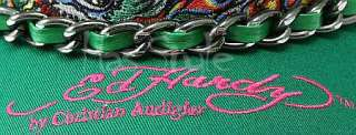 Ed Hardy Trucker Cap Flaming Tiger Chain Hat NWT green gold