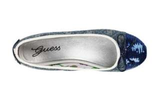 NWB New GUESS Blue Denim Multi VIKORIA Fabric w/Sequins Bowtie Logo
