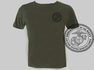 USA Army Marines USMC OD Green Military mens tee shirt