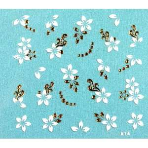 X.T gold and white flowers 3D nail sticker nail decals Beauty