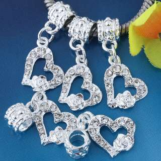 Silver Plated White Crystal Heart European Dangle Beads