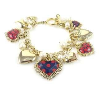 Betsey Johnson Jewelry Polka Dot Heart Charm Toggle Bracelet