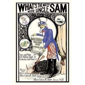 Vintage Art Whats the Matter with Uncle Sam   03596 x