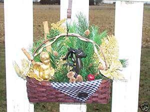 Christmas Angel & Deer Wall Decoration Cinnamon Sticks Outdoor Scene
