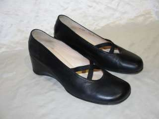 AUTH TARYN ROSE SHOES BLACK LEATHER WEDGE HEELS 39.5 9.5