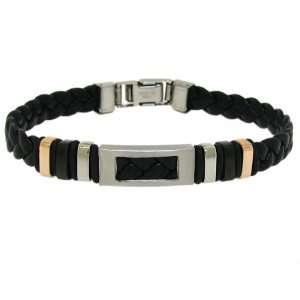 Moise Stainless Steel Mens Black Leather Cutout Bracelet
