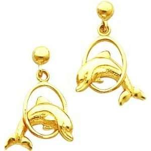 14K Gold Dolphin & Hoop Dangle Earrings Jewelry New