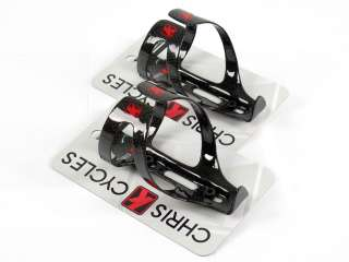 PAIR CHRIS K CARBON FIBER WING AERO ROAD BIKE WATER BOTTLE CAGES