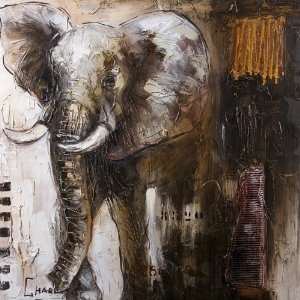 Yosemite Home Decor YC001 Olifant Painted Wall Art