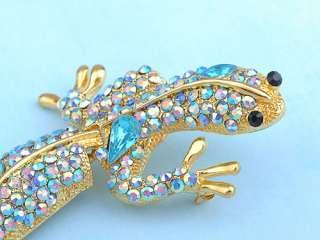 Leopard Gecko Lizard Gila Rhinestone Crystal Brooch Pin