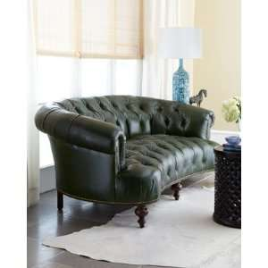 Old Hickory Tannery WinterPineGreen Tufted Leather Sofa