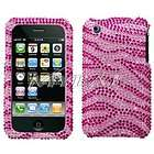 Pink Zebra Crystal Diamond Bling Rhinestone Hard Case Cover for iPhone