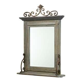 Distressed Gray Wood Mirror Shelf Iron Scroll Pediment
