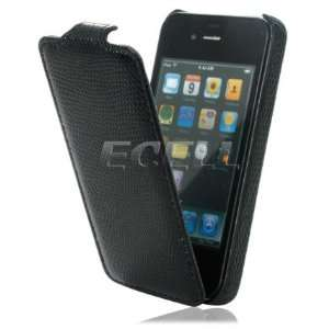 Ecell   NEW BLACK SNAKE SKIN LEATHER FLIP CASE FOR iPHONE