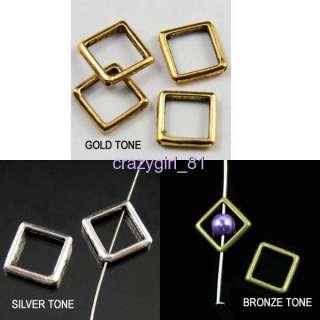 Bead Frame Open Square Silver/Gold/Bronze Tone 10Pc R059