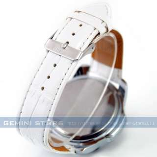 White Leather Army Military Captain Sport Men Boy Watch