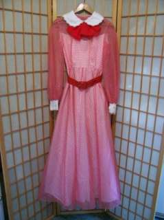 Adorable VTG 50s 60s NADINE Country Girl PARTY MAXI DRESS Sheer Tulle