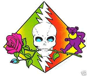 Grateful Dead   Rose Skull & Bear Sticker Decal