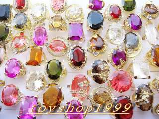 wholesale lots 50 multicolored&Oversize CZ GOLD rings