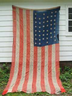 Antique 1890 Wyoming 45 Star Sewn American Flag