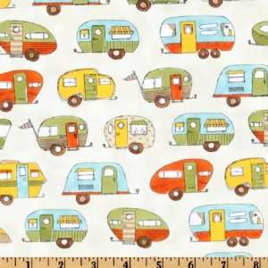 44 Wide On The Road Campers Cream/Blue Fabric By The