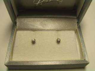 VINTAGE 14K WHITE GOLD DIAMOND EARRINGS IN ORIGINAL BOX~HAHNES WHICH