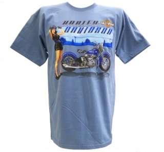 Harley Davidson Las Vegas Dealer Tee T Shirt Pinup Girl BLUE XL
