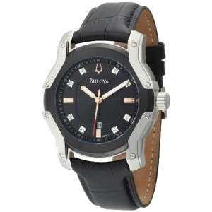 NEW Bulova Mens 98D117 Diamond Black Dial Strap Watch