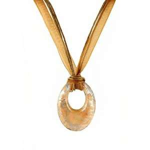 Necklace   N118   Murano Glass Style   Open Oval Shape ~ Brown, Copper