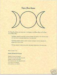 Book of Shadows page Triple Moon Symbol Goddess Chant