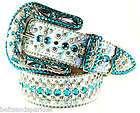 BB Simon Swarovski Crystal Leather Belt 36 XL New