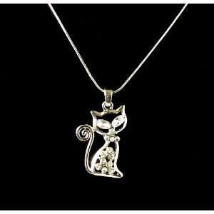 Crystal Kitty Cat Pendant Necklace 002