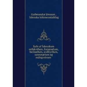 . Ãslenska bókmenntafélag Guðmundur Jónsson  Books