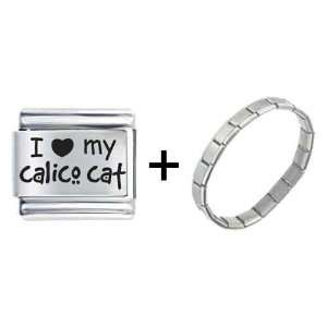 I Heart(love) Calico Cat My Laser Italian Charm Pugster