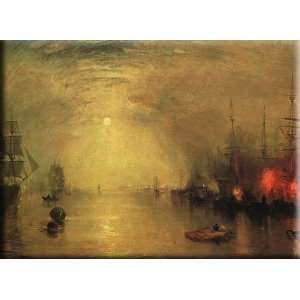 Keelman Heaving in Coals by Night 30x22 Streched Canvas Art by Turner