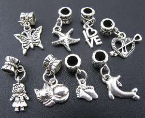 Wholesale 100pcs Mix Tibetan Silver Dangle Beads Fit Charm Bracelet
