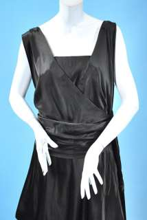MIDNIGHT BLACK SILK DRAPING SATIN HOBBLE DRESS W/WIDE SASH WEARABLE