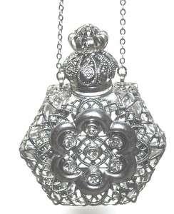 Czech Perfume Oil Holy Water Bottle Pendant Necklace holder   ships