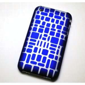 New Blue Mosaic Laser Cut Rear Only Apple Iphone 3g 3gs Snap on Cell