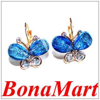 Crystal Butterfly Rhinestone hoop stud earrings for girl AAA
