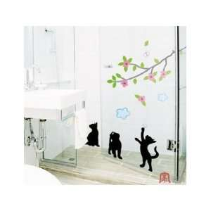 Home Decor Mural Art Wall Paper Stickers   Playing cats