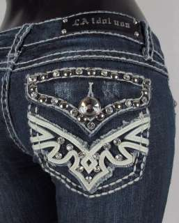 IDOL Bootcut Jeans LEATHER & CRYSTALS WITH WHIP STITCH! 2632LP