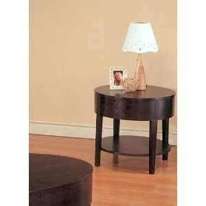 Modern Style Round Cocktail End Table With Bottom Storage
