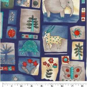 Wide FLORA & FAUNA BLOCK Fabric By The Yard Arts, Crafts & Sewing