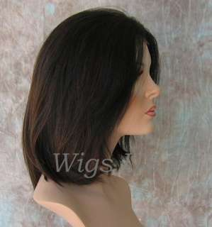 Wigs 100% Remy Human Hair Lace Front Black & Auburn shoulder length