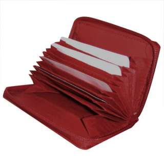 Red Zipper Accordion Card ID LEATHER Wallet Holder New