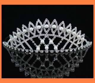 CLEAR RHINESTONE IMITATED PEARL TIARA HEADBAND CROWN WEDDING PROM H796